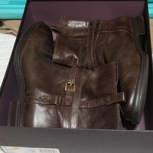 Womens leather boots low heel